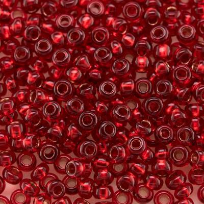 Preciosa Czech glass seed bead 9/0 Red glass Copper Lined