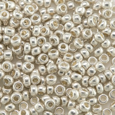 Preciosa Czech glass seed bead 9/0 Silver Metallic coated