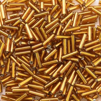 Preciosa Czech glass, size 4x1mm Rich Topaz, mini bugle bead