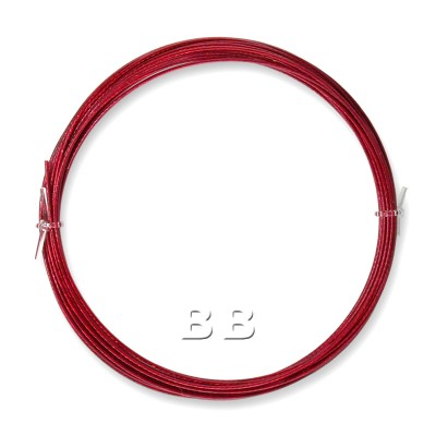 """Red coloured, nylon coated 0.45mm/.018"""" Dia.7x1 Tigertail"""