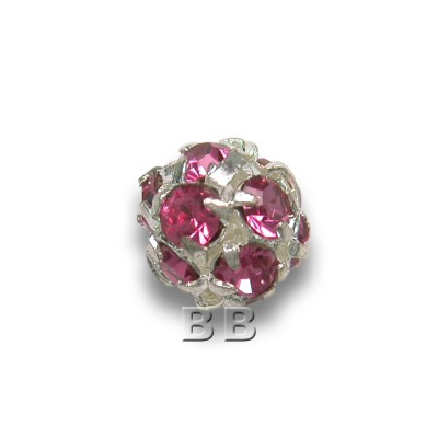 Rose 6.0mm Silver Plated Crystal Rhinestone Ball