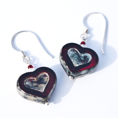 Siam Heart Earrings