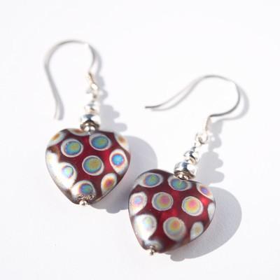 Siam Peacock Heart bead Earrings
