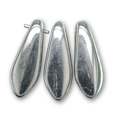 Silver chrome full coated 5x16mm dagger bead - Retail system