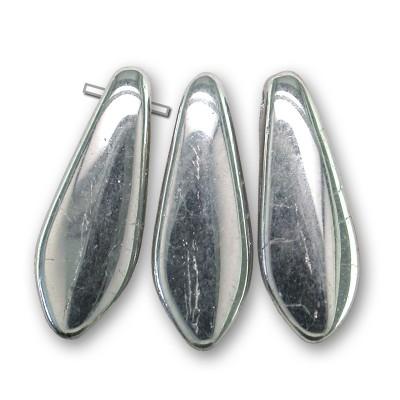 Silver chrome full coated 5x16mm glass dagger bead