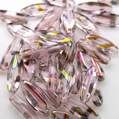 Rosewater Pink 15x6mm mini oval glass bead
