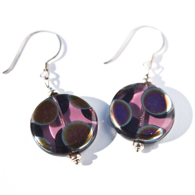 Sterling silver Amethyst Peacock Disc Earrings