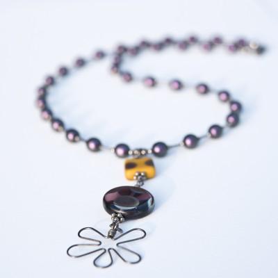 Amethyst & Ochre Flower Necklace