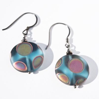 Sterling silver – black finish Aqua Peacock Disc Earrings