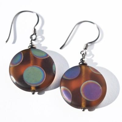 Sterling silver – black finish Dark Topaz Peacock Disc Earrings