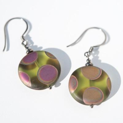 Sterling silver – black finish Olivine Peacock Disc Earrings