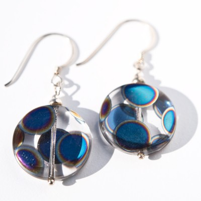 Sterling silver Clear Peacock Disc Earrings