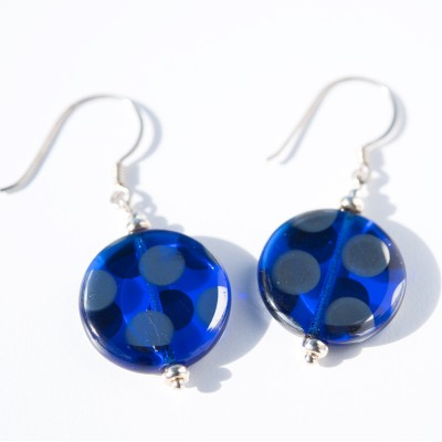 Sterling silver Cobalt Blue and Silver Disc Earrings