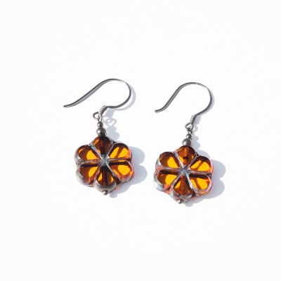 Sun Florice Bead Earrings - Sterling Silver (black finish) components.