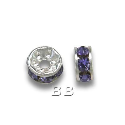 Tanzanite 4.5mm Silver Plate Czech Crystal Rhinestone Rondelle