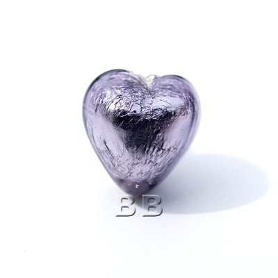 Tanzanite Heart 12mm Silver Foil Czech glass Lampwork Bead