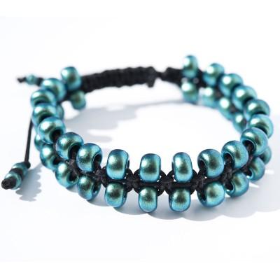 Teal Green Macramé Bead Bracelet