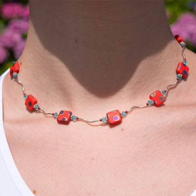 Twisty Coral Peacock Bead Necklace