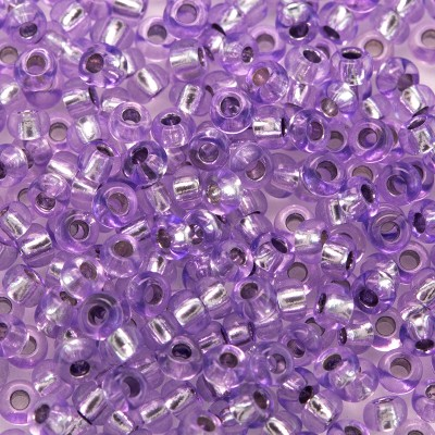 Violet coated glass, silver lined, size 9/0 seed beads - Retail system