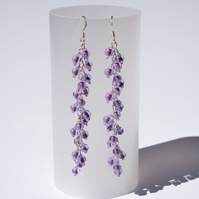Violet Mulberry Seed bead charm earrings 70mm in .925 silver