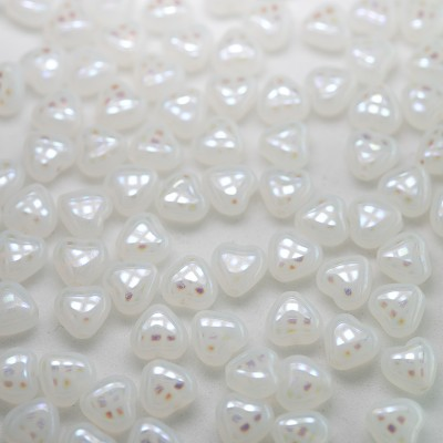 White Opal Peacock Heart 6mm Pressed Czech Glass Bead - Retail system