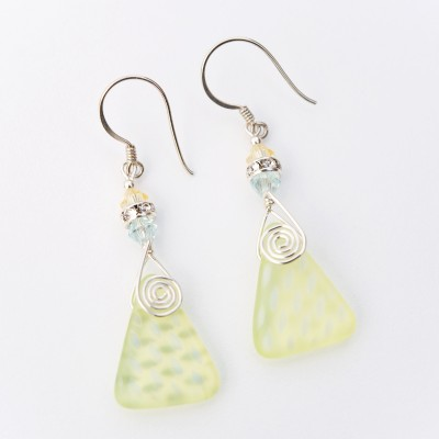 Wild Primrose Glass Bead Triangle Earrings - sterling silver components