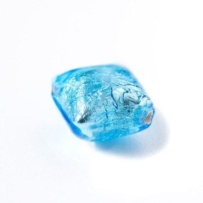 Aquamarine 12x12mm Diamond Cushion Silver Foil Czech glass Lampwork bead