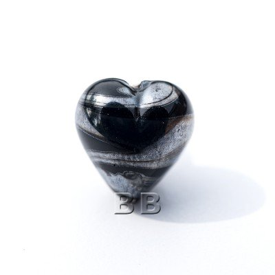 Black Heart 12mm with Hematite effect Czech glass Lampwork Bead