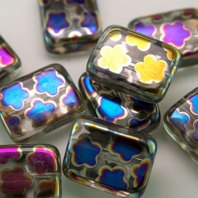 Clear Peacock Oblong 15x19mm Pressed Czech Glass Bead