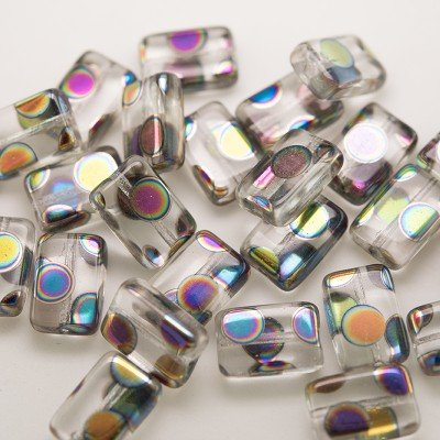 Clear Rainbow Peacock Rectangular 12x8mm Pressed Czech Glass Bead