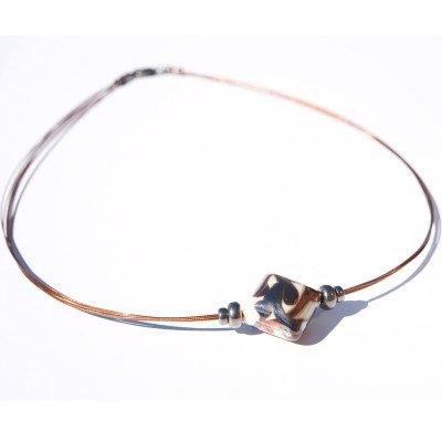 Cream & Copper Artisan glass bead Necklace