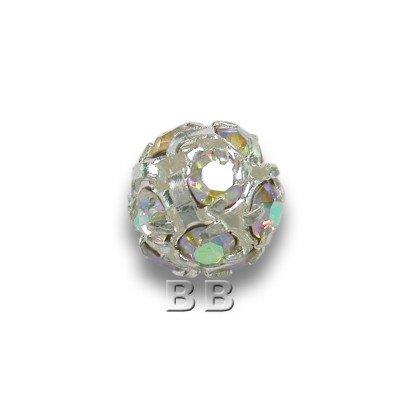 Crystal-AB 6.0mm Silver Plated Czech Crystal Rhinestone Ball
