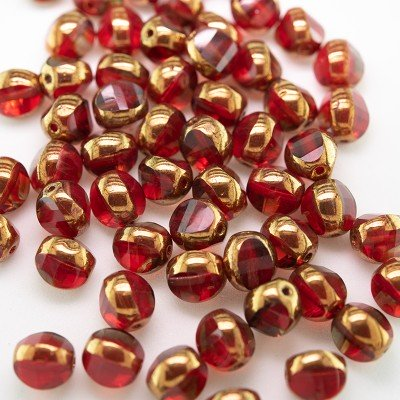 Fire Red 8mm Tricon Cut, Golden Finished Fire Polished Glass Bead