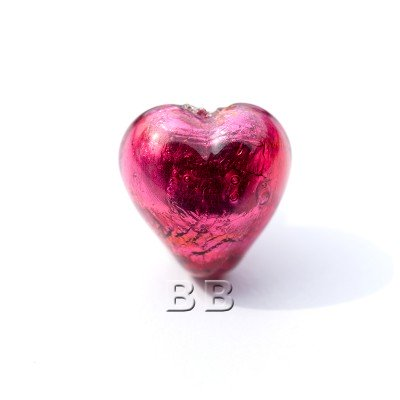 Fuchsia Heart 12mm Silver Foil Czech glass Lampwork Bead