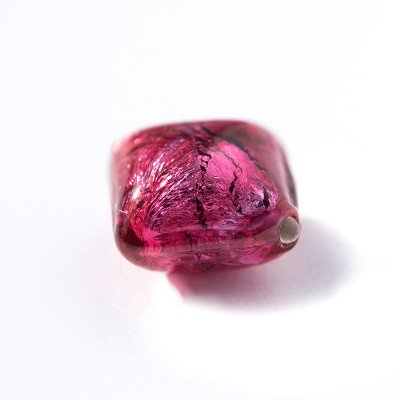 Fuchsia rose 12x12mm Diamond Cushion Silver Foil Czech Glass Lampwork Bead