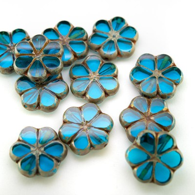 Hawaiian Ocean Florice 15mm Table Cut Czech Glass Bead