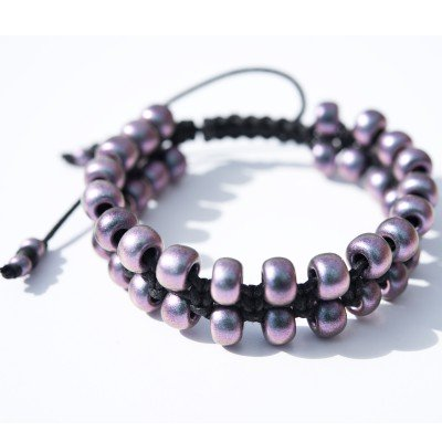 Lilac-Blu Macramé Bead Bracelet