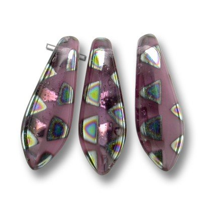 Mixed shades of pink glass 5x16mm dagger bead with multi-coloured triangles