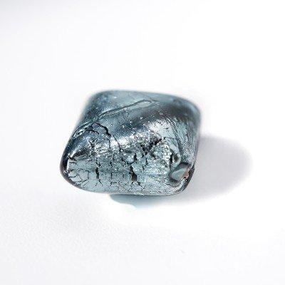 Montana 16x16mm Diamond Cushion Silver Foil Czech glass Lampwork Bead