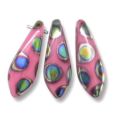 Opaque Pink glass dagger bead Peacock 5x16mm