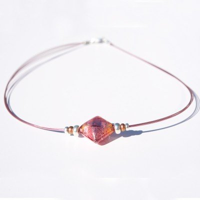 Passion Pink Artisan Glass bead Necklace