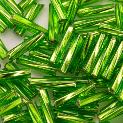 Preciosa 9mm bugle bead Lime silver lined (inside twisted, smooth on the outside)