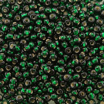 Preciosa Czech glass seed bead 11/0 Darkest Green Silver Lined
