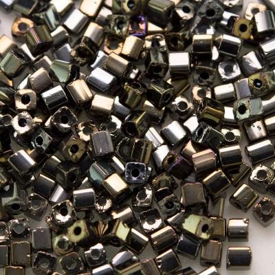 Preciosa Czech glass seed bead 2x2mm Bronze Iris metallic cube