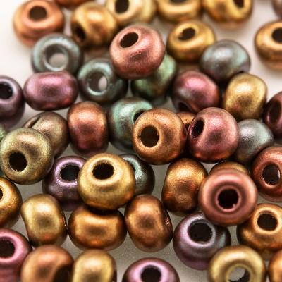 Preciosa Czech glass seed bead 5/0 Brushed Mixed Copper metallic coated