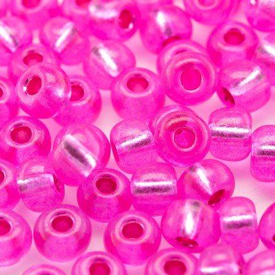 Preciosa Czech glass seed bead 5/0 Neon Pink coated, silver lined