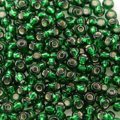 Preciosa Czech glass seed bead 9/0 Dark Green glass silver lined