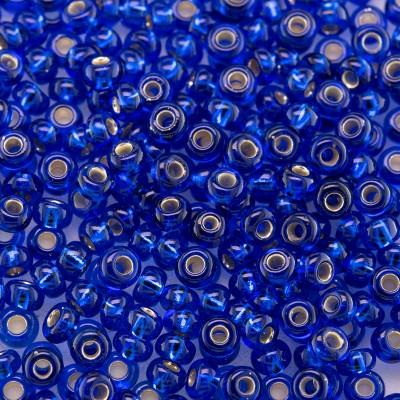 Preciosa Czech glass seed bead 9/0 Medium Blue glass silver lined