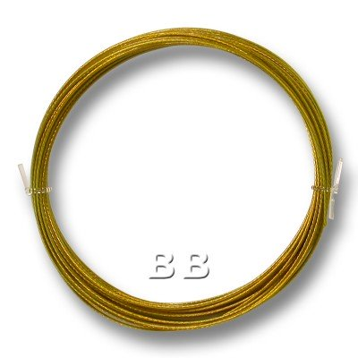 """Rich Gold coloured, nylon coated 0.45mm/.018"""" Dia.7x1 Tigertail"""
