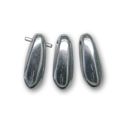 Silver chrome full coated metallic 3x11mm dagger bead